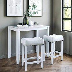 Nathan James 41201 Viktor Dining Set Kitchen Pub Table Marble Top Fabric Seat Wood Base, Light G ...