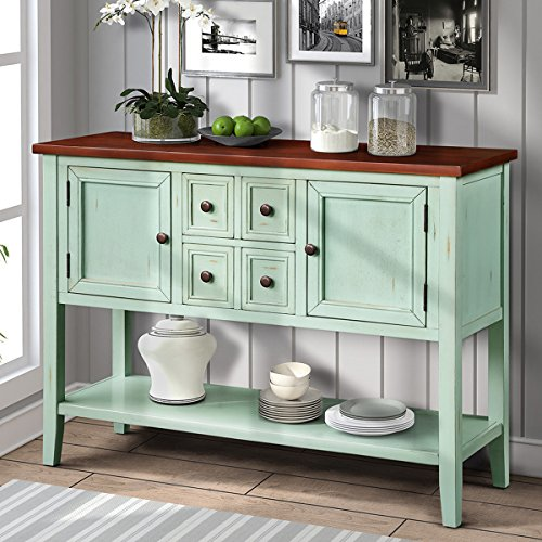 P PURLOVE Buffet Sideboard Console Table with Bottom Shelf Acacia Mangium (Antique Blue)