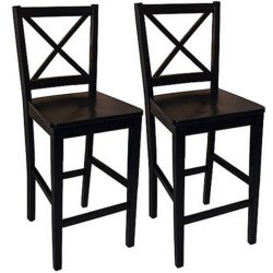 Virginia Cross-Back Counter Stools 24″, Set of 2, Black + Expert Guide