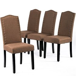 BestMassage Dining Chairs Armless Kitchen Room Chair Accent Solid Wood Modern Style for Living H ...