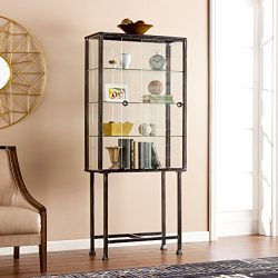 Southern Enterprises AMZ4688ZH Metal/Glass Sliding-Door Display Cabinet