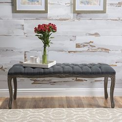 Tassette Tufted Oxford Grey Fabric Bench