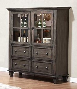 Sunset Trading DLU-EL-DS Shades of Gray China Cabinet, Weathered Grey