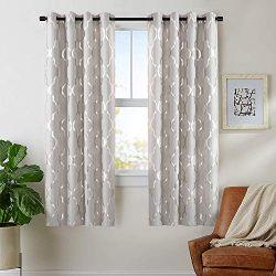 Blackout Moroccan Tile Print Textured Linen Panels for Bedroom Room Grommet Flax Linen Blend Cur ...