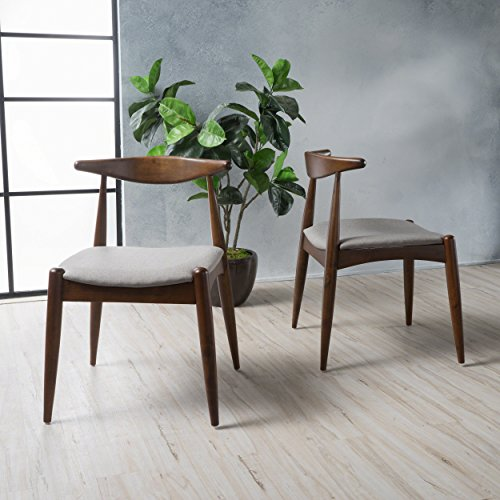 Sandra Dark Beige with Walnut Finish Mid Century Modern Dining Chairs (Set of 2)