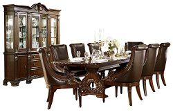 Chambord French Country 10PC Dining Set Table, 8 Chair, Buffet & Hutch in Dark Cherry