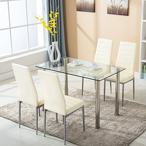 Mecor 5 Piece Dining Set, Glass Kitchen Table Set with 4 Leather Chairs Metal Legs Dining Room K ...
