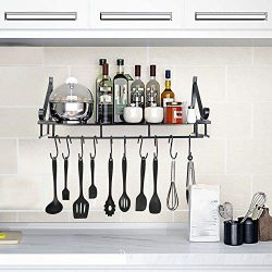 Xindda Multipurpose Metal Folding Shelf Kitchen Rail Rack Wall Mounted Utensil Hanging Rack Orga ...