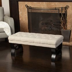 Great Deal Furniture Colette Tufted Beige Fabric Ottoman Bench