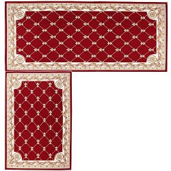 Kitchen Mat,Hihome Decorative Non-slip Polyacrylonitrile Red Kithchen Rugs Set Bathroom Mats Set ...