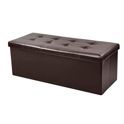 BCDshop_Sofa Storage Ottoman Bench,BCDshop Classics Foldable Storage Chest Footrest Padded Seat  ...