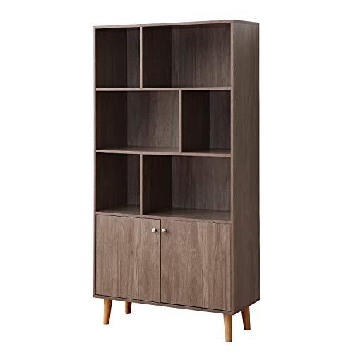 soges Premuim Modern Display Storage Cabinet 67.4″ High Free Standing Wood Bookshelf Home  ...