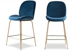 Edloe Finch Modern Velvet Counter Stools (Set of 2) Upholstered Blue