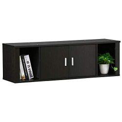 Topeakmart Wall Mounted Floating Media Storage Cabinet Hanging Desk Hutch 2 Door & Compartme ...