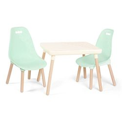 B toys – Kids Furniture Set – 1 Craft Table & 2 Kids Chairs with Natural Wooden Legs (Ivory  ...