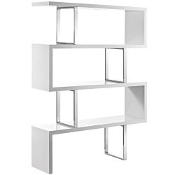 Modern Contemporary Urban Living Lounge Room Bookcase Bookshelf Shelf Rack Stand, White, Wood Metal