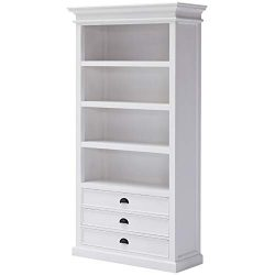 NovaSolo Halifax Pure White Mahogany Wood Bookcase With 4 Shelves And 3 Drawers