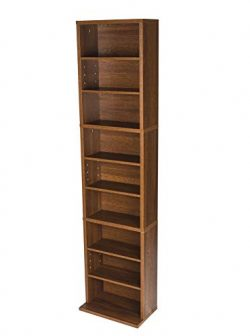 Atlantic 74736249 Herrin Adjustable Media Cabinet, Textured Chestnut