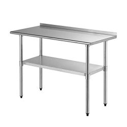 SUNCOO Commercial Stainless Steel Work Table Food Grade Kitchen Prep Workbench Metal Restaurant  ...