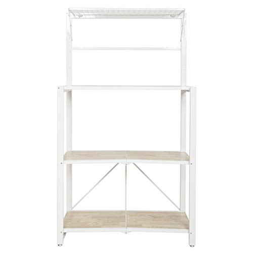 Origami Heavy Duty Durable Organizational Baker's Rack with MDF Shelf, White
