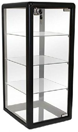 Only Hangers F-1302B Elegant Black Aluminum Table Top Tempered Glass Display Showcase, 27″ ...