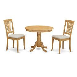 East West Furniture ANAV3-OAK-C 3 Piece Kitchen Dinette Table and 2 Chairs Set