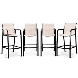 COSTWAY Set of 4 Bar Chairs Modern Style Counter Height Stool Steel Frame Sling Dining Chairs Ba ...