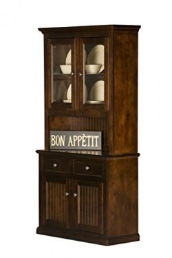 Eagle Furniture Manufacturing Coastal Dining Buffet & Hutch, 40″, Antique Black