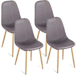 Homury Dining Side Chairs Set of 4 Fabric Cushion Seat Back Solid Metal Legs Home Dining Room Ch ...