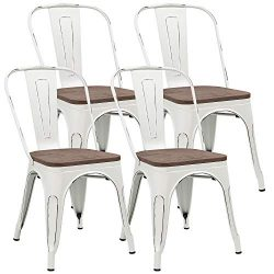 JUMMICO Metal Chair Stackable Kitchen Dining Chair Indoor-Outdoor Classic Trattoria Bistro Cafe  ...