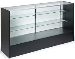 6-feet-wide Free-Standing Glass Display Case with Height-Adjustable Shelves and Sliding Door  ...