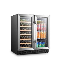 LANBO Wine and Beverage Cooler, Compressor Under Counter Wine Cellar and Beverage Fridge Combo,  ...