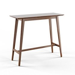 Mid-Century Modern Rectangular Wood Bar Table (Brown)