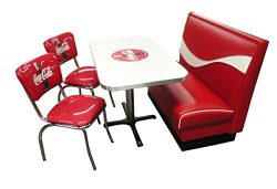 Vitro Seating Products CB-I Dinette Furniture Set with Coke Dynamic Booth, 24″ x 42″ ...