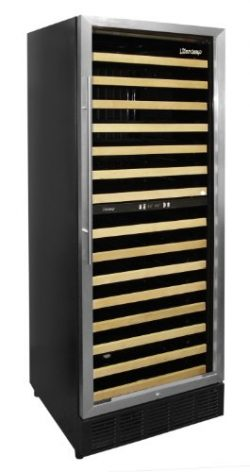 Vinotemp 160-Bottle Multi Zone Wine Cooler with Front Exhaust, Black/Stainless