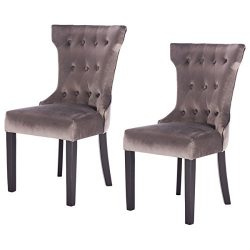 Giantex 2 Pcs Tufted Dining Chair Upholestered Armless Accent Side Chair Home Kitchen Furniture, ...