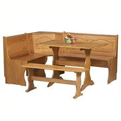 Riverbay Furniture Breakfast Corner Nook Table Set in Natural