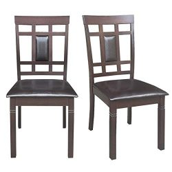 Giantex Set of 2 Dining Chairs Wood Armless Chair Home Kitchen Dining Room High Back Chairs w/PU ...
