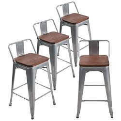 Andeworld Set of 4 Tolix-Style Counter Height Bar Stools Industrial Metal Bar Stools Indoor-Outd ...