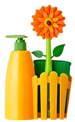 Vigar Flower Power Orange Sink Side Set With Soap Dispenser, 10-1/2-Inches, Orange, Green