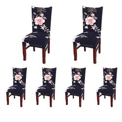 SoulFeel Set of 6 Dining Chair Covers, Stretch Spandex Dining Room Protector Slipcovers (Style 4 ...