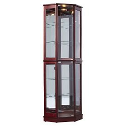 Tall Lighted Corner Curio Cabinet – Corner Hutch for Collectibles, China or as a Liquor Ca ...