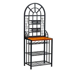Southern Enterprises Dome Bakers Rack with Wine Storage (Pack of 1.)
