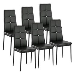 Kitchen Dining Chairs Set of 6 with Sturdy Metal Legs, High Backrest Dining Breakfast Chair for  ...
