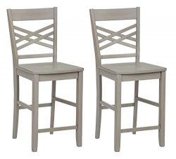 Ravenna Home Luna Rustic Wood Counter Stool, 40.5″H, Distressed Grey (Set of 2)