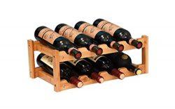 Riipoo 8-Bottle Wine Rack, 2-Tier Nature Bamboo Wine Display Rack, Free Standing and Countertop  ...