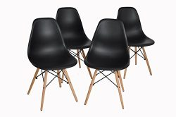 Dining Chairs FurnitureR Set of 4 Dining Chairs Eames Style Seat Height Chair Natural Wood Legs  ...