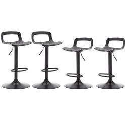NOBPEINT Contemporary Chrome Air Lift Adjustable Swivel Bar Stool, Set of 4, Black