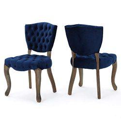 Great Deal Furniture Duke Tufted Navy Blue Velvet Dining Chairs (Set of 2)