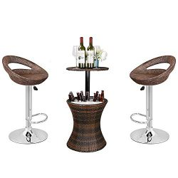 Nova Microdermabrasion Modern Adjustable Swivel Bar Stool Rattan Wicker Hydraulic Pub Barstool w ...